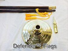 US Indoor Oak Parade 7 or 8 FT Flag Pole, Gold Stand Base, Spear Ships Fast UPS