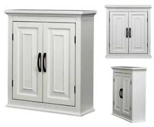 Bathroom Storage Cabinet Wall Mount Cupboard Wood Kitchen Pantry Toilet White