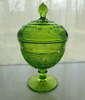 Duncan & Miller Indiana Glass Green Sandwich Ftd Candy Box Dish Compote & Cover