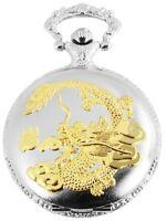 Taschenuhr Weiß Gold Klassik Drache Dragon Analog Quarz Metall D-180712000043275