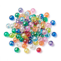 200pcs AB Color Transparent Acrylic Beads Round Tiny Loose Spacers Findings 5mm