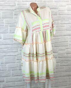 Italy Hippie Boho Hängerchen Tunika Kleid Leinen Look Azteken 36 38 40 42 K642