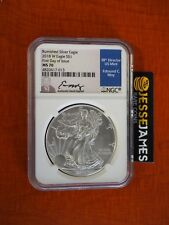 2018 W BURNISHED SILVER EAGLE NGC MS70 EDMUND MOY SIGNED FIRST DAY OF ISSUE FDI
