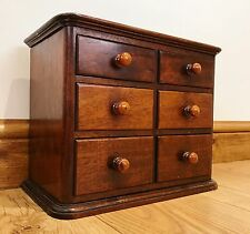 Antique Bank Mahogany Miniature Drawers Specimen Apothecary Cabinet - Collectors