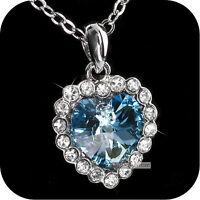 pendant necklace 18k white gold made with SWAROVSKI crystal heart light blue