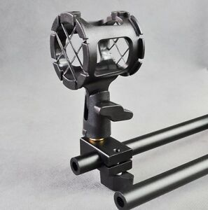 Shotgun Mic Shock Mount  + Rod Clamp for Rod support Cage