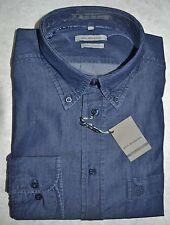 CAMICIA JEANS UOMO Taglia XXXL maniche lunghe tela leggera 100% cotone blu 3XL