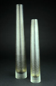 Pair of Glass Vases Brown Textured Tube Tall Thick Ribbed Long Stem Flower Set &