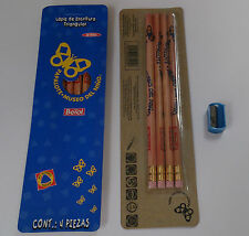 Berol Triangular Pencils Natural Pack of 4 Non Toxic with FREE Sharpener