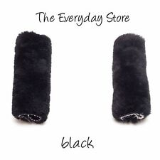 Genuine Australian Sheepskin Seat Belt Covers Pair Black 28 CM