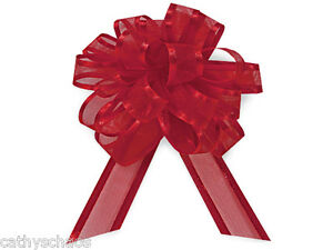 12 Red Sheer Organza w/ Satin edge pull out Bows Christmas Holiday Gifts Wreaths