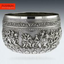 More details for antique 19thc burmese maung po kin solid silver bowl, rangoon c.1890