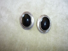 VINTAGE HANDCRAFTED POST PIERCED EARRINGS W ONYX CABACHONS/ STERLING SILVER