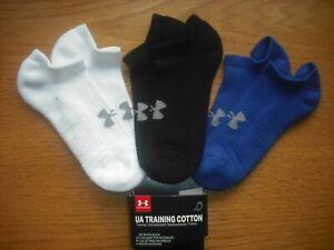 Youth/Womens NWT Under Armour No-Show Socks Cushioned B-W Blue YLG-XL/Women's S