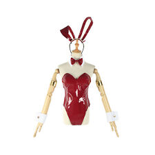 Women Leather One Piece Swimsuit Front Bottom Zipper Bunny Girl Suit Headwear