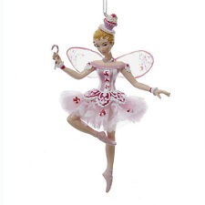 KURT ADLER SUGAR PLUM FAIRY w/WINGS & CANDY CANE NUTCRACKER BALLET XMAS ORNAMENT