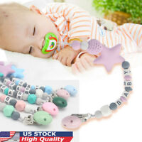 US Baby Silicone Teething Soother Bead Infant Dummy Clip Pacifier Chain Chew Toy