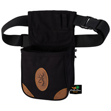NEW BROWNING LONA CANVAS AND LEATHER SHELL CARRIER POUCH BLACK BUCKMARK LOGO