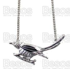 SPARROW vintage silver tone BIRD NECKLACE black enamel SONGBIRD chain GIFT UK