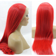 "24"" Silky Straight Long Lace Front Wig Heat Resistant Synthetic Hair Middle Part"