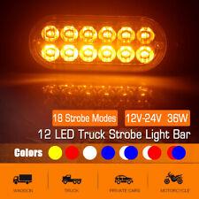 12 LED Flashing Light Bar Truck Car Emergency Beacon Warning Hazard Strobe