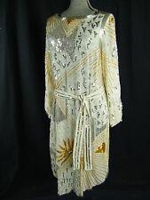 JUDITH ANN COLLECTIONS Vtg 70-80s Beige Silk Flapper Beaded Dress-Bust 42/M