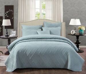 Tache Contemporary Solid Seafoam Blue Cotton Light Coverlet Bedspread Set