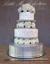 DIAMANTE ROSE FLOWER WEDDING CAKE TIER SEPARATOR STAND  RISER  TABLE DISPLAY