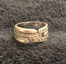 Sterling Silver ~8 grams Wide Band Three Fingers Meeting Clear Gems Ring Size 7
