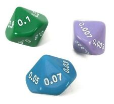 New Set of 3 Place Value Dice – Tenths to Thousandths In Fun Colors