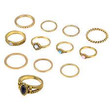 12Pcs/set Women Antique Gold Silver Boho Vintage Punk Midi Rings Fashion Jewelry