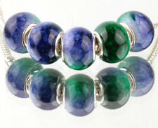 5pcs SILVER MURANO Gradient spacer beads fit European Charm Bracelet DIY #E930