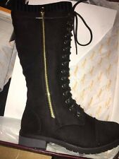 FOREVER Knitted Collar Lace Up Lug Sole Zipper Combat Boots Black Faux Suede 6
