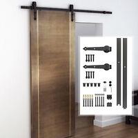 8FT Modern CARBON STEEL Sliding Wood Barn Hardware Kit Track Set Door System