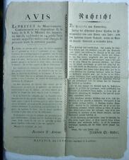 AMTLICHE NACHRICHT an Weinbergsbesitzer Weinhändler Weinfuhrleute Mainz 1806