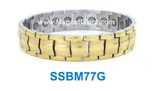 SSBM77G - Magnetic Gold Men's stainless steel link bracelet 5000 Gauss 316L