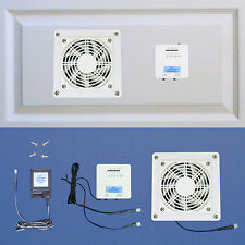 AV Cabinet cooling fan system with thermostat & multi-speed (white model)