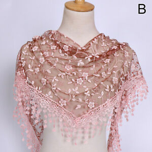 Women's Shawl Lace Scarf Clothing Accessories Summer Tassel FloralSun protection
