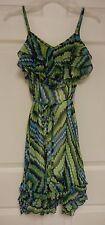 Juniors Womens Blue & Green Print iZ Byer Layered Summer Dress - Size S Lined