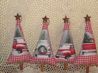 4 Handmade Old Red Truck fabric Christmas red check tree ornaments Home Decor