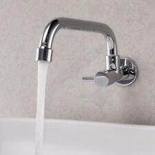 Wall Mount Chrome Brass Kitchen Sink Tap Single Cold Water Swivel Spout Faucet