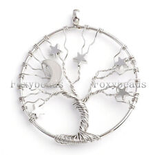 1pc Unisex Moon Star Copper Wire Wrap Tree Of Life Pendant for Necklace Jewelry