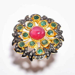 Natural Ruby & Emerald Gemstone Ring,Pave Diamond ring,925 Sterling Silver,Gift