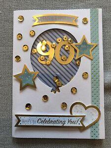 Handmade 90th Birthday Card Shaker Gold Blue Green Male Friend