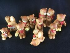 Set of 9 Vintage Enesco Lucy & Me Bear Figures Red Bow 1980's