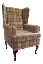 Wing Back Queen Anne Chair Cream Lana Tartan Fabric