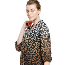 Ladies Kaftan Blouse M&S Brown Animal Print PullOn Tunic Cover Up 12 BNWT Marks