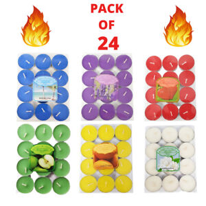 🔥 SCENTED TEA LIGHTS PACK OF 24 VARIOUS SCENTS CANDLES TEALIGHTS