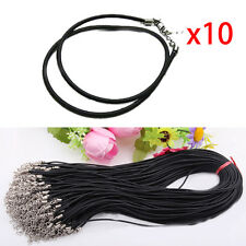 10pcs PU Leather Rope Cord Necklace Pendants DIY Chain String Jewellery Black