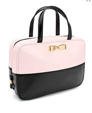 New~Victoria's Secret Hanging Travel Case Makeup Bag Pink Black Bold Gold Bow